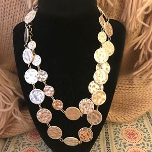 New Chico's Silver Disk Long Necklace